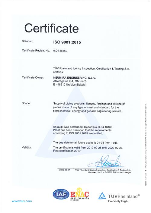 Quality Certificate of Neumira Engineering